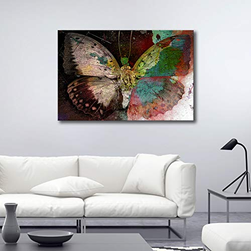 ARTLAND Giclee Canvas Prints Framed Canvas Artwork 24×36-inch Colorful Butterfly Gallery-Wrapped Animal Painting Wall Art for Living Room