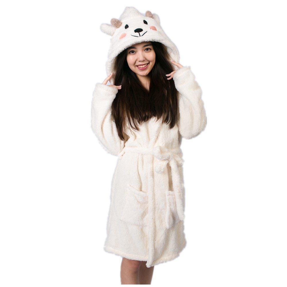 a6ae117927 Amazon.com  Mangadua Women Animal Hooded Dressing Gown Flannel Household  Bathrobes  Clothing