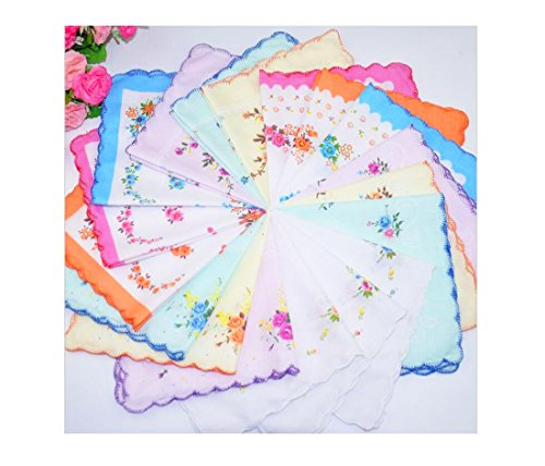Women Quadrate Floral Handkerchiefs Wedding Party Fabric Hankies (Monogrammed Wedding Hankie)