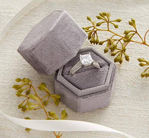 Velvet Ring Box Silver Gray, Hexagon Shape, Engagement Ring Box, Ring Bearer Box, Wedding Ring Box, Wedding Photo Shoot, Engagement Photo Shoot, Bridal Gift