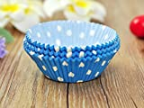 100 PCS Blue w/ White Polka Dot Paper Cupcake Cups