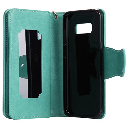 Funda Samsung Galaxy S8 Plus, Vandot Premium PU Cuero Pintado Patron Funda para Samsung Galaxy S8 Plus TPU Interior Bumper Shell Billetera Caja de Teléfono con 9 Ranuras Tarjetas, Correa para la muñec YHNV 01