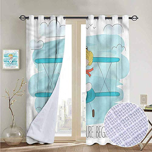 Chrome Pedal Plane - NUOMANAN Kitchen Curtains Adventure,Cute Girl on Plane,Rod Pocket Drapes Thermal Insulated Panels Home décor 84