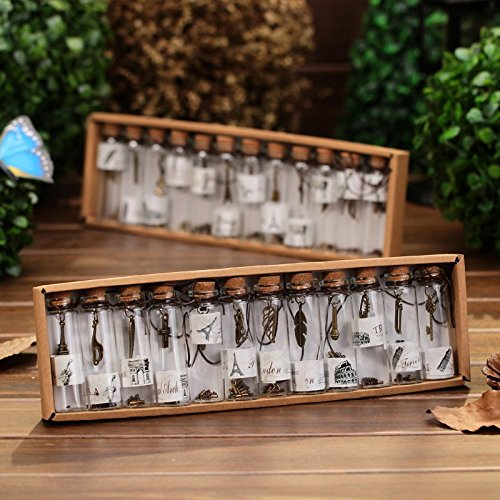Akak Store 12 Pcs/Set Clear Transparent Vintage Retro Wishing Bottle Mini Glass Jars with Cork Stoppers and with Inside Steam Punk Pendants for Wedding Favors,Birthday Gifts