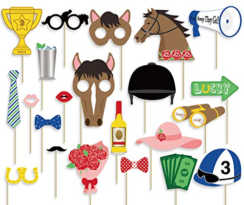 55Ct Kentucky Derby Photo Booth Props Party Supplies Horse Racing Decorations ()