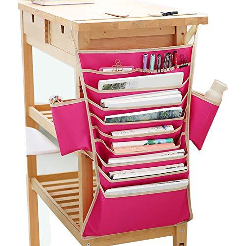 Desk-Side Hanging Storage Bags Students Desk Table Book Organizer 9 Pocket Classroom Textbooks Bedside Storage Caddy Stationery Storage Bag Desktop Supplies(Rose Red)