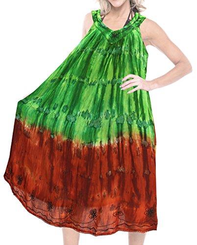 LA LEELA Women Embroidered Tie Dye Swimwear Beach DressCaftan Green|Brown US: 14-28W