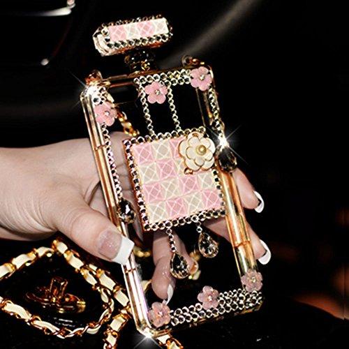 Sasa(TM) Samsung Galaxy S7 Case ,3D Handmade Luxury Elegant Bling Diamond Crystal Lovely Daisy Flower Perfume Bottle Shaped Chain Handbag Case Cover for Samsung Galaxy S7 (Pink )