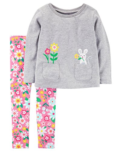 Carter's Girls' 2T-5 Multi Floral Leggings Set (Spring Flowers, 6 Months)