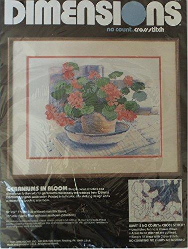 Dimensions No Count Cross Stitch (Dimensions Geraniums in Bloom Flower No Count Cross Stitch Kit By Dawna Barton # 3906)