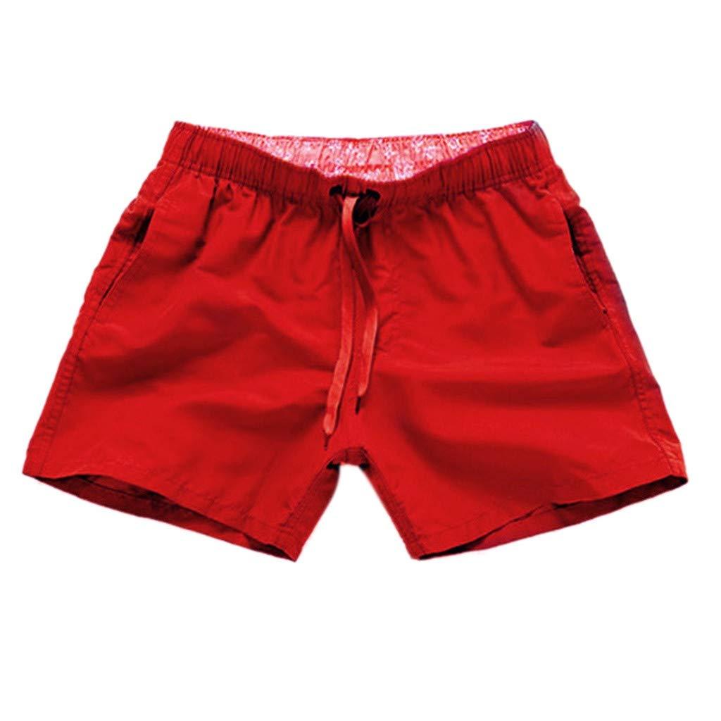 iLXHD Men Beach Shorts Pure Color Splice Stripe Beach Swimming Trunks Board Swimsuit Shorts Red