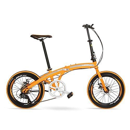 QF600G 20インチ折りたたみ自転車、7スピード折りたたみ自転車、高炭素鋼フレーム、BMX、両ディスクブレーキ B078Z6D9XB 黄 黄