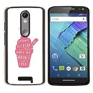 LECELL--Funda protectora / Cubierta / Piel For Motorola MOTO X3 3rd -- Pink Cream Strawberry Caos Positivo --