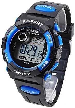 Enjoydeal New Multifunction Large Dial Waterproof Kids Sports Electronic Quartz Watches Watch (Blue)
