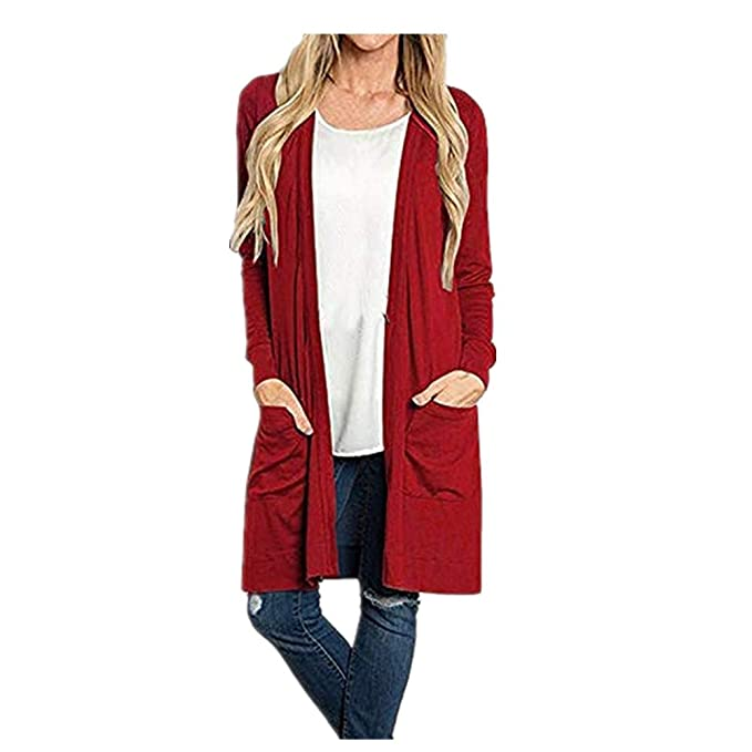 Kulywon Womens Long Sleeve Open Front Loose Pocket Causal Lightweight Kimono Cardigan at Amazon Womens Clothing store: