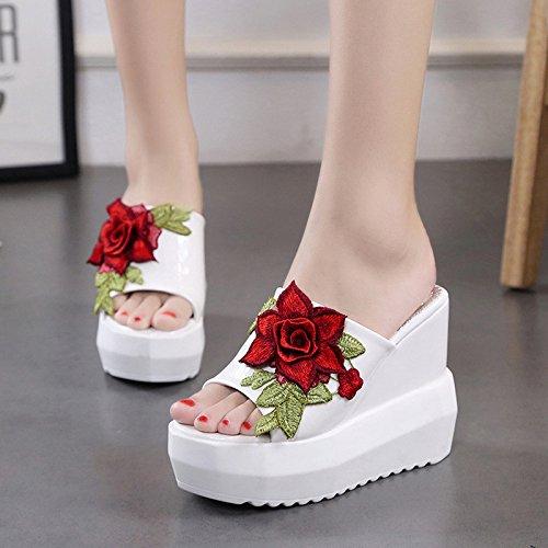 Natation Toe Talon Brod¨¦ Imperm¨¦Able Femmes Abuyall Semelle Tongs Pantoufles Chaussures Plage Rose Pt2 D'¨¦t¨¦ Sandales Haute Sandales AzxgU