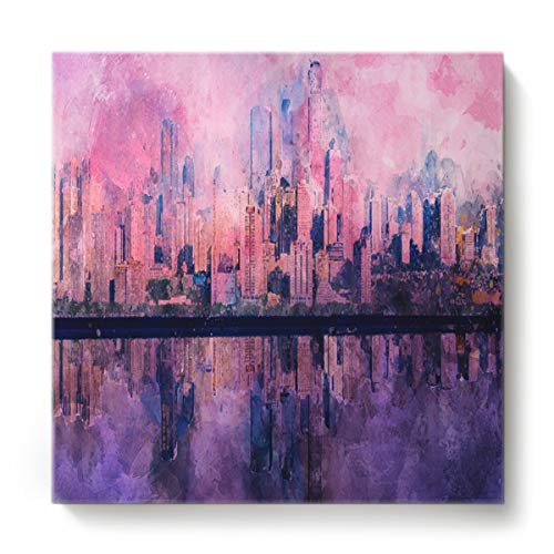 GreaBen Modern Canvas Wall Art Square Oil Painting Home Decor for Office Hotel,Watercolour Landscape of City Building Canvas Artworks,Stretched by Wooden Frame,Ready to Hang,16 x 16 Inch