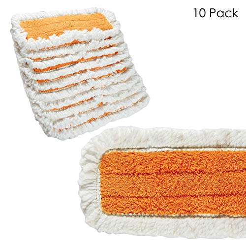 15 inch Microfiber Dry Dust Mop Pad - 10 Pack - Washable, Reusable Refill Pads for Floor Cleaning Mops - Velcro Replacement Pad for Flat Mop Head - Home or Industrial Use - Wood, Tile, Laminate Floors