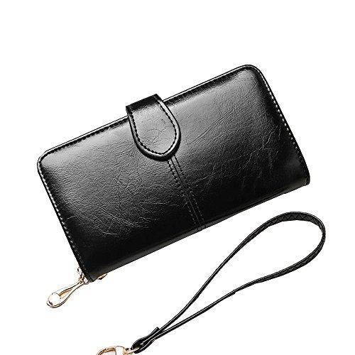 Women Fashion PU Leather Wallet Zip Around Purse Long Handbag (Pink) - 8