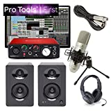 Focusrite Solo Home Recording Studio Bundle Speakers Mic Pro Tools First & More