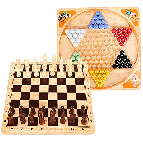 Wooden Table Chess - Lewo 2 in 1 Wooden Chess Set Chinese Checkers Board Table Games for Kids Adults Family