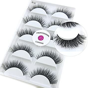 32b2376855d Amazon.com: Luxurious 100% Siberian Mink Fur 3D False Eyelash LASGOOS  Degisn Natural Messy Corner Thick Volume Fluffy Soft Fake Eyelashes 5 Pairs/Box  (A19): ...
