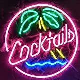 LiQi COCKTAILS Real Glass Neon Light Sign Home Beer Bar Pub Recreation Room Game Room Windows Garage Wall store Sign (17''x14'' Large)