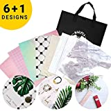 """Photo Backdrop Boards for Flat Lay & Food Photography: Realistic, Non-Reflective, Waterproof & Durable - 13x13"""" Set with 7 Designs"""