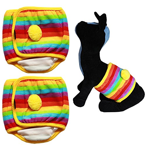 Bolbove 2pcs Rainbow & Stripes Male Puppy Belly Band for Boy Dogs (Medium) -