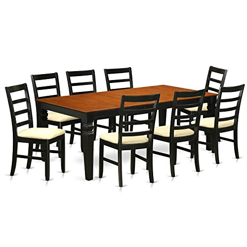 East West Furniture LGPF9-BCH-C 9Piece Table & Chair Set with One Logan Dining Table & 8 Kitchen Chairs in black & Cherry Finish
