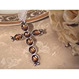 Blessed Events Silver Cross with Amber Crystals - 60 Pieces