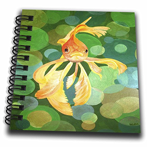 3dRose db_46770_3 Vermillion Goldfish Fantail, Goldfish, Ryukin, Metallic Scales, Fancy Goldfish Mini Notepad, 4 by 4