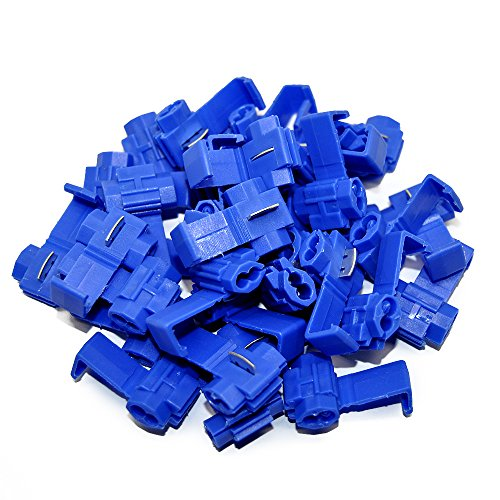 (MUYI 100 Pcs Blue Electrical IDC 0.75-2.5mm2 Wire Connector Double Run or Tap Flame Retardant 18-16 AWG (Solid/Stranded), 14 AWG (Stranded) 0.75x1.26inches. (WxL) 15A Max. Current One Pack (Blue))
