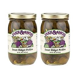 Jake & Amos Sweet Midget Pickles - (2) 16 Ounce Jars