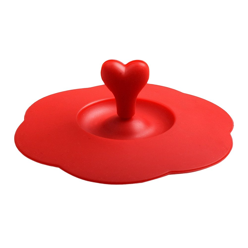 Reusable Safe Silicone Heart Handle Anti-Dust Coffee Mug Glass Cup Cover Lid Cap - Blue gzzebo