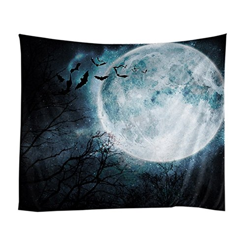 Halloween Pumpkins Tapestry Witch Haunted Castle Halloween Tapestry Blanket Black Cat Bats Ghost Spider Web Tapestries Scary Forest Graveyard Tapestry Wall Hanging For Halloween Decor Party Decoration ()