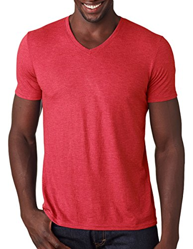 Anvil Adult Tri-Blend V-Neck T-Shirt, Hthr Red, Medium