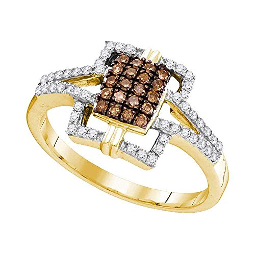 - Size - 7.5 - Solid 10k Yellow Gold Round Chocolate Brown and White Diamond Engagement Ring OR Fashion Band Prong Set Emerald-Shape Shaped Halo Ring (1/3 cttw)