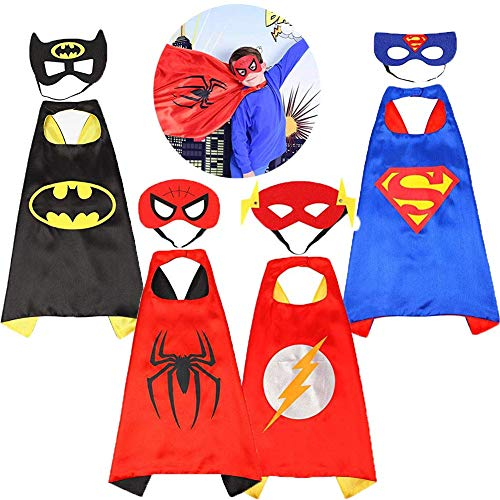 Asgift Comics Cartoon Hero Cape and Mask Costumes Set for Kids Dress Up Party]()