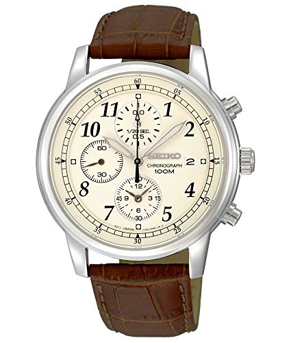 Seiko Men's SNDC31 Classic Stainless Steel Chronograph Watch with Brown Leather Band Automatic Chronograph Swiss Wrist Watch