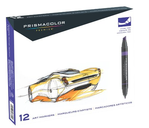 Prismacolor Premier Double-Ended Art Markers, Fine and Chisel Tip, 12-Count