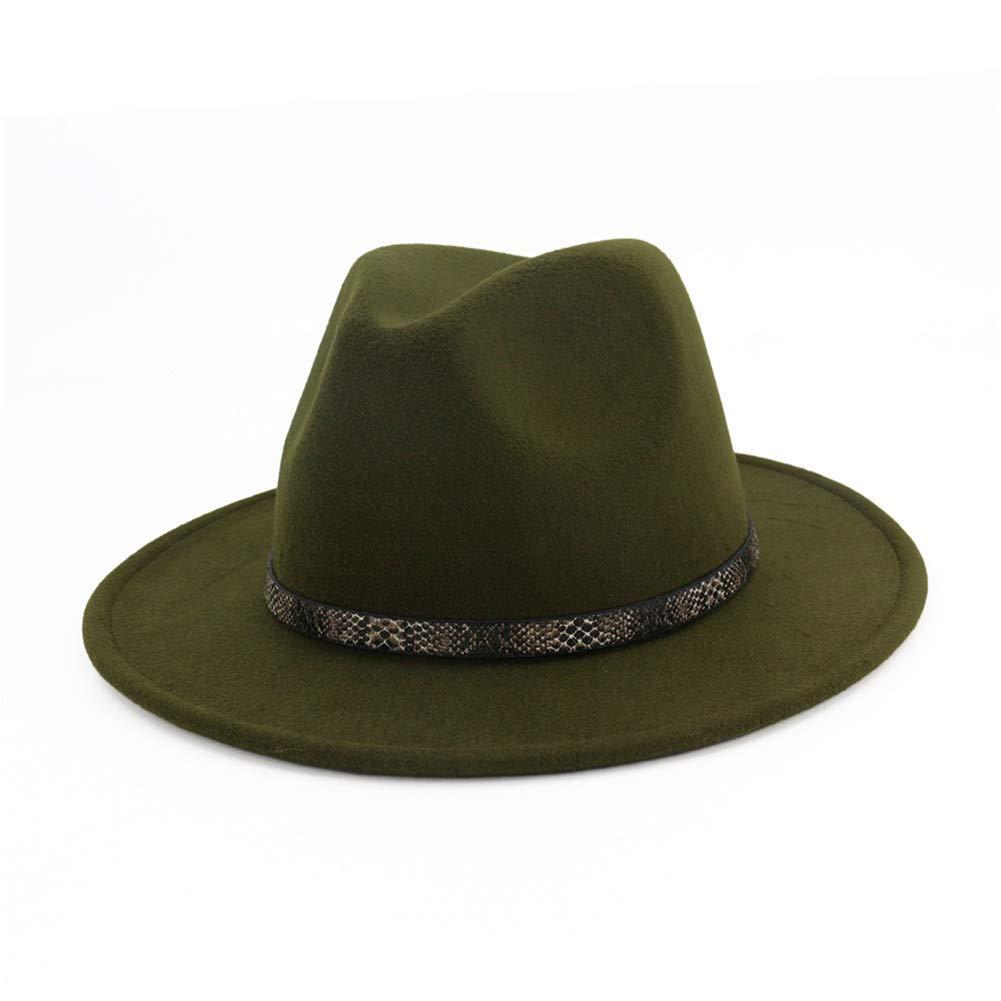 BaZhuaYu Men & Women's Wide Brim Fedora Hat with Band Unisex Felt Panama Cap Green M (Head Circumference 22''-22.8'')