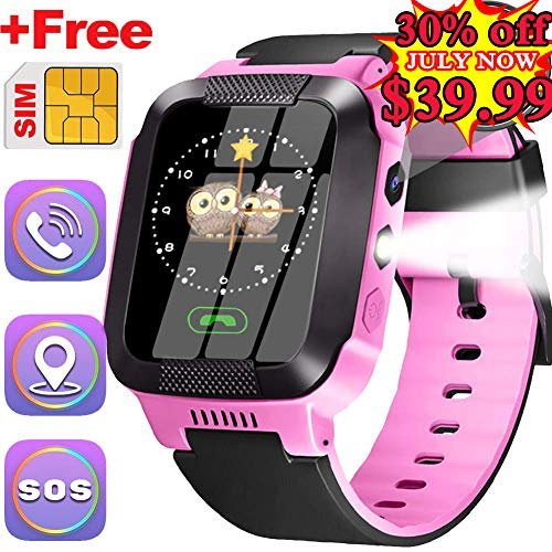 Kids Smartwatch With SIM Card Best GPS Tracker 3-12 Year Old Boys Girls Child Phone Watch with Digital Camera Touchscreen SOS Games Children's Sports Smart Wrist Electronic Learning Toys Birthday Gift