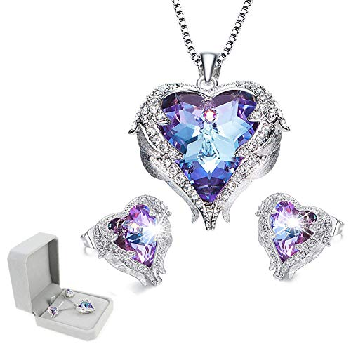 Ibeauti Crystal Heart Necklace and Earrings Set Heart of Ocean Earrings Necklace Jewelry Gifts for Her (Purple Necklace&Earrings ()