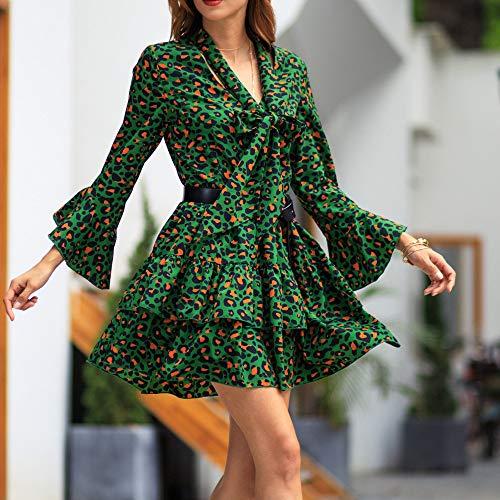 Estiva Abito Verde Sleeve Cocktail DressPolpqed Stampare Mini Lunghe Donna Maniche A V Da Bowknot Flare collo Leopardato Elegante Vacanza 4jq5ARL3