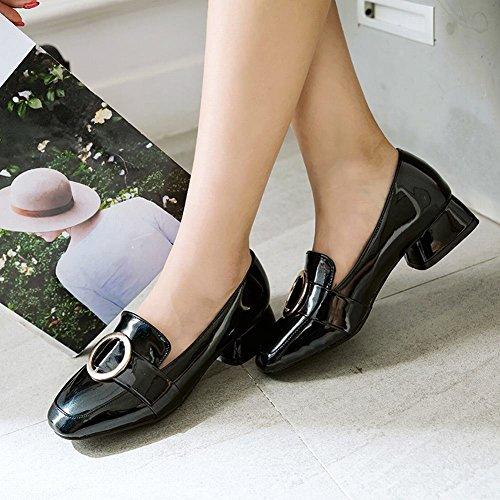 Charm Foot Moda Mujer Charol Chunky Low Heel Loafer Zapatos Black