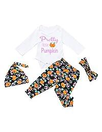 Vinjeely 4Pcs Infant Baby Girls Boys Letter Pumpkins Romper+Pants Halloween Outfits