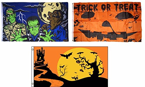 ALBATROS 3 ft x 5 ft Happy Halloween 3 Pack Flag Set #24 Combo Banner Grommets for Home and Parades, Official Party, All Weather Indoors Outdoors