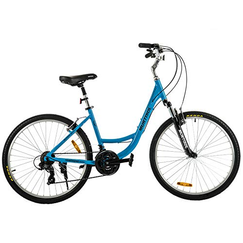 Murtisol Aluminum Comfort Bike 26'' Commuter Bike Mountain Bike Hybrid Bike for Men & Women 21 Speeds Derailleur, Front & Seat Suspension, Adjustable Seat & Handlebar,Blue