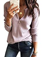 Womens V Neck Shirts Long Sleeve Waffle Knit Loose Fitting Warm Tee Tops